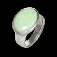 Opalring mit großem, ovalem Edelopal, 925er Silber, Ringgröße 58
