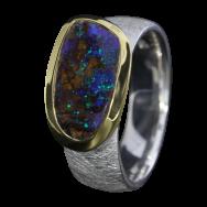 Opal Ring mit Boulder Opal in Kobaltblau, 925er Silber, Ringgröße 56, vergoldet