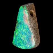 Gebohrter Boulder Opal in sehr tiefem opaleszierendem Türkis, 28x18 mm