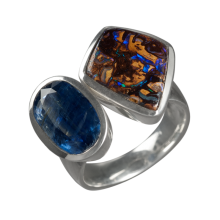 Ring mit Boulderopal und Disthen, 925er Silber, Ring Größe 56