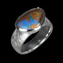Opalring mit braun-blau schimmerndem Boulderopal, 925er Silber, Ringgröße 56