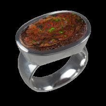 Opalring mit hellbraunem Boulderopal, 925er Silber, Ringgröße 55