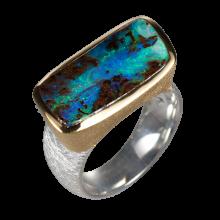 Opalring mit blauem Boulderopal, 925er Silber, Ringgröße 58
