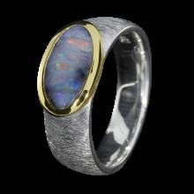 Opalring mit tiefblauem Boulder Opal, 925er Silber, Ringgröße 53