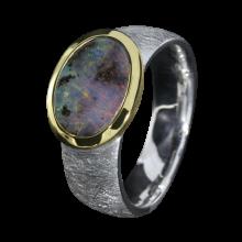 Opal Ring mit ovalem Boulder Opal, 925er Silber, Ringgröße 52