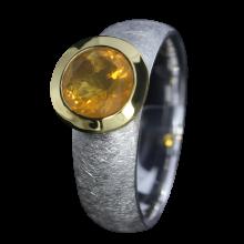 Ring mit rundem Feueropal, 925er Silber, Ring Größe 55, vergoldet