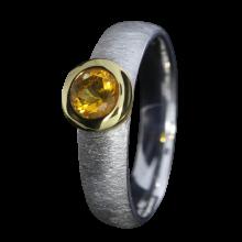 Ring mit sonnengelbem Feueropal, 925er Silber, Ring Größe 53, vergoldet