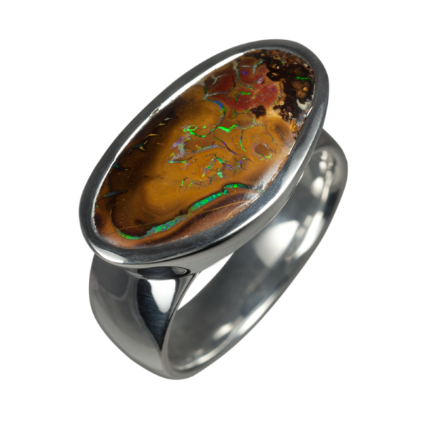 opal ring mit gro em boulder 925er silber ringgr e 55. Black Bedroom Furniture Sets. Home Design Ideas