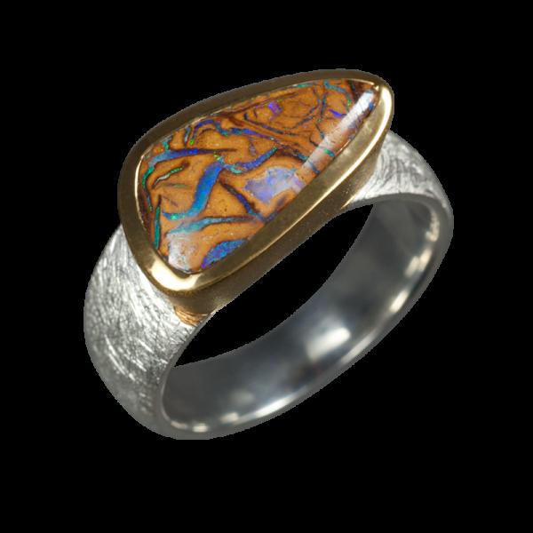 opal ring mit dreieckigem boulder 925er silber ringgr e. Black Bedroom Furniture Sets. Home Design Ideas