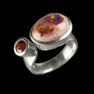 Feueropal Ring mit facettiertem Hessonit, 925er Silber poliert, Ringgröße 54