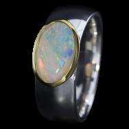 Ring mit strahlendem Edelopal, 925er Silber, goldbelötet mit 750er Gold, Ring Größe 54