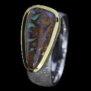 Opal Ring mit dreieckigem sepiabraunem Boulder Opal, 925er Silber, Ringgröße 56, vergoldet