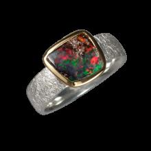 Opalring mit viereckigem Boulderopal, 925er Silber, Ringgröße 52, vergoldet