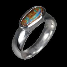 Opalring mit länglichem Boulderopal, 925er Silber, Ringgröße 50