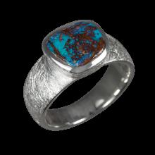 Opalring mit türkis-schimmerndem Boulderopal, 925er Silber, Ringgröße 53