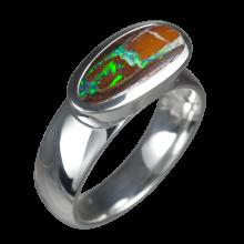Opalring mit länglichem Boulderopal, 925er Silber, Ringgröße 54