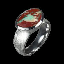 Opalring mit großem Boulderopal, 925er Silber, Ringgröße 53