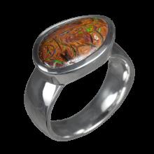 Opalring mit hellbraunem Boulderopal, 925er Silber, Ringgröße 56