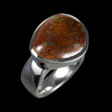 Opalring mit großem Boulderopal, 925er Silber, Ringgröße 56