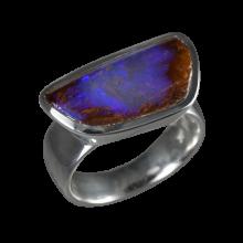 Ring mit großem Boulderopal, 925er Silber, Ringgröße 58