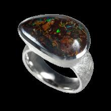Ring mit braunem Boulderopal, 925er Silber, Ringgröße 61