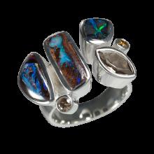 Atemberaubender Ring mit 3 Boulder Opalen, Rauchquarz und Champagner Diamant, 925er Silber, Ring Größe 58