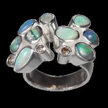 Ring mit 9 Edelopalen und 3 Champagne Diamanten, 925er Silber, Ring Größe 61