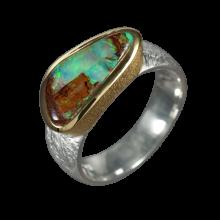 Opalring mit dreieckigem Boulderopal, 925er Silber, Ringgröße 55