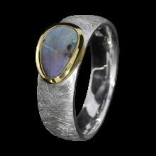 Opal Ring mit Boulder Opal in Lila, 925er Silber, Ringgröße 54
