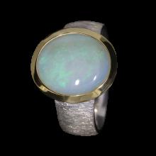 Opalring mit großem weißem Edelopal, 925er Silber, Ringgröße 56, vergoldet