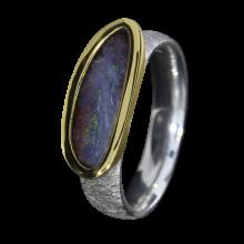 Opal Ring mit Boulder Opal in Lila, 925er Silber, Ringgröße 56, vergoldet