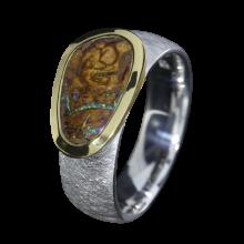 Opal Ring mit Boulder Opal, 925er Silber, Ringgröße 55, vergoldet