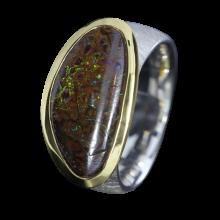 Opal Ring mit schokobraunem Boulder Opal, 925er Silber, teilvergoldet, Ringgröße 57