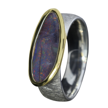 Opal Ring mit länglichem Boulder Opal, 925er Silber, Ringgröße 57, vergoldet