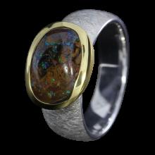 Opal Ring mit braunem Boulder Opal, 925er Silber, Ringgröße 58, vergoldet