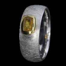 Ring mit honiggelbem Feueropal, 925er Silber, Ring Größe 55, vergoldet