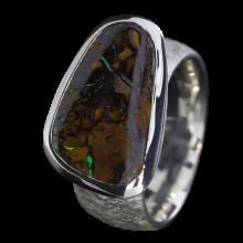 Opal Ring mit sepiabraunem Boulder Opal, 925er Silber, Ringgröße 55