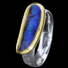 Opal Ring mit länglichem Boulder Opal in Kobaltblau, 925er Silber, Ringgröße 57, vergoldet