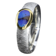 Opal Ring mit zierlichem Boulder Opal in Königsblau, 925er Silber, Ringgröße 55, vergoldet