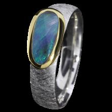 Opalring mit dunkelblauem Boulder Opal, 925er Silber, Ringgröße 55, vergoldet