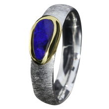 Opal Ring mit Boulder Opal in Königsblau, 925er Silber, Ringgröße 56, vergoldet