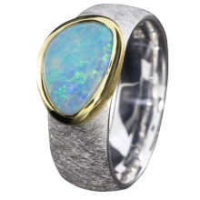 Opalring mit leuchtendem Edelopal, 925er Silber, Ringgröße 56, vergoldet