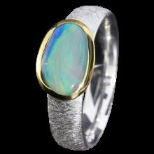 Opalring mit türkisfarbenem Edelopal, 925er Silber, Ringgröße 55, vergoldet