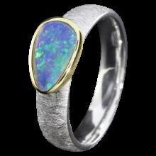 Silberring mit blauem Edelopal, 925er Silber, Ringgröße 57, vergoldet