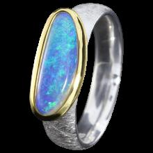 Opalring mit länglichem Edelopal, 925er Silber, Ringgröße 58, vergoldet