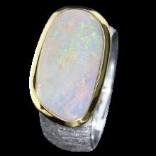 Opalring mit großem Edelopal, 925er Silber, Ringgröße 57, vergoldet