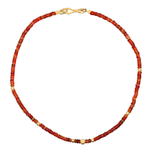 Kette mit sonnübersponnenen Feueropalen, 925er Silber, vergoldet