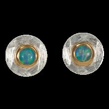 Ohrstecker mit runden, verführisch schimmernden Edelopalen, 925er Silber, vergoldet