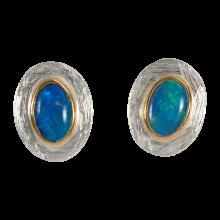 Ohrstecker mit bezaubernden, ovalen, bläulichen Edelopalen, 925er Silber, vergoldet