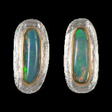 Ohrstecker mit länglich-ovalen, berauschend grünblauen Edelopalen, 925er Silber, vergoldet